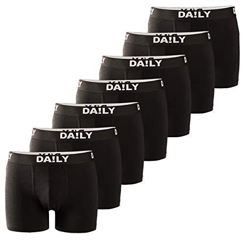 DA!LY UNDERWEAR Herren Boxershort Basic Boxer Retro Trunks 7er Pack Unterhosen Schwarz Waistband Bunt 95% Baumwolle Daily S M L XL XXL 3XL 4XL 5XL 6XL, Größe:4XL, Farbe:Schwarz/Weiß