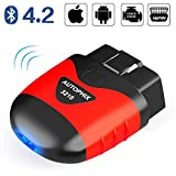 AUTOPHIX OBD2 Bluetooth Adapter für iOS Android,Universal OBDII Diagnosegerät Fehlercode auslesegerät Autodiagnose-Scan-Tool Motordiagnose mit Batterietest am PKW KFZ
