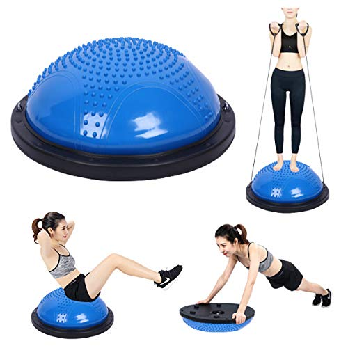 [VeroMan] バランスボール 半円 半球 60cm 大きいサイズ チューブ付き 空気入れ付き (ブルー)
