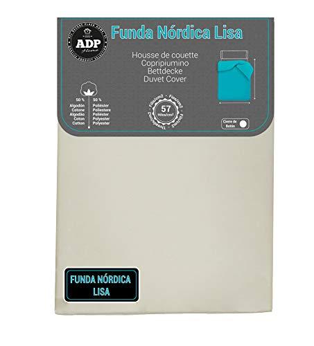 ADP Home - Funda nórdica Lisa, Calidad 144Hilos, 17 Hermosos Colores, Cama de 135 cm - Color: Ivory