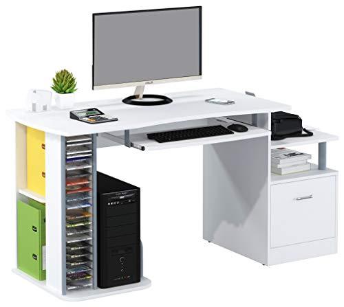 SixBros. Büroschreibtisch, praktischer Schreibtisch mit viel Platz für Ordner, Drucker und Monitor, Computerschreibtisch, weiß S-202C/732