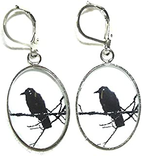 BLACK BIRD ON BRANCH EARRINGS SILVER Plt Black GLASS Beads Raven Crow Backbird