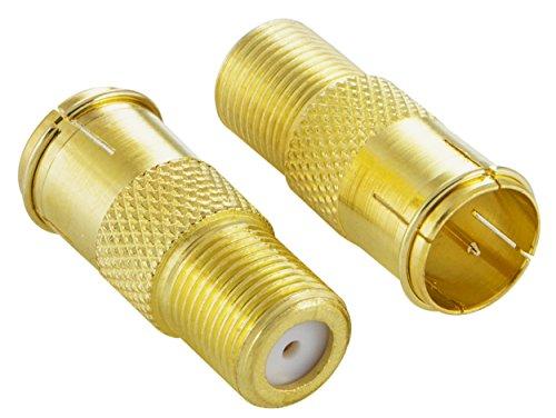 Poppstar 2X SAT F-Quickstecker (Coax Schnellverbinder: F-Buchse auf F-Stecker) Kupplung für Koaxialkabel - Antennenkabel, vergoldet