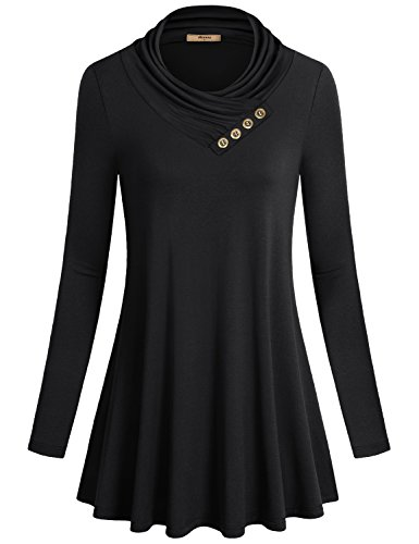 Miusey Juniors Top, Womens Long Sleeve Cowl Neck Shirt to Wear with Leggings Loose Fit Casual Flowy Top Black XX-Large (Nice Tops To Wear With Skinny Jeans)