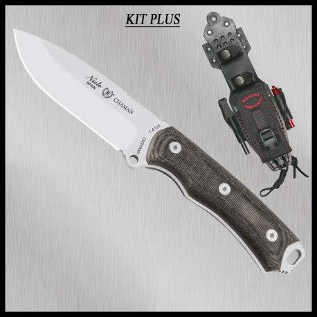 MIGUEL NIETO Nieto - 140-MKB Plus. Cuchillo Chaman BÖHLER Kit Plus MICARTA Negra. Herramienta para Caza, Pesca, Camping, Outdoor, Supervivencia y Bushcraft