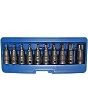 """BGS 5097   Juego de puntas de vaso de impacto   entrada 12,5 mm (1/2"""")   perfil en T (para Torx) T20 - T70   10 piezas"""