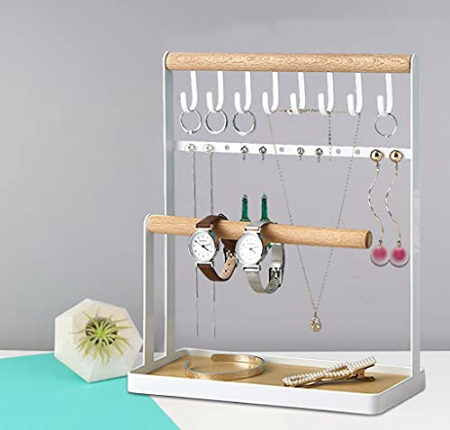 Jewelry Stand Holder,2-Tier Jewelry Organizer for Earrings Necklaces and Bracelets,8 Hooks Storage Rings Necklaces
