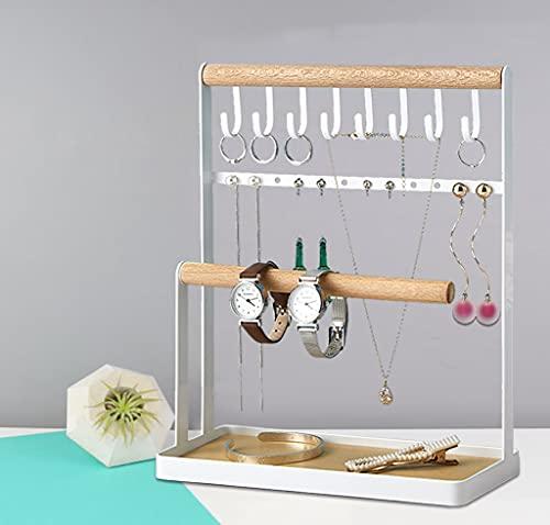 Soporte para joyas, organizador de joyas de 2 niveles para pendientes, collares y pulseras, 8 ganchos anillos de almacenamiento collares