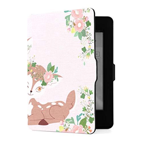 Funda Kindle Paperwhite 1 2 3, Linda Pareja de Dibujos Animados Dear Flower Crown PU Funda de Cuero con Smart Auto Wake Sleep para Amazon Kindle Paperwhite (para Las Versiones 2012,2013,2015
