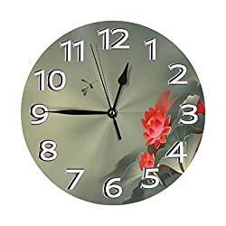 Traditional Japanese Painting Lotus Blooms In Hazy Tones Asian Wall Clock, Silent Non-Ticking Quality Quartz Battery Operated Wall Clock - 10 Inch Round Easy to Read Decorative for Home Office School