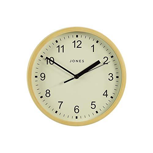 JONES CLOCKS® Spin kleine Wanduhr, farbiges Zifferblatt und Zeiger, 20 cm (Creme/Helles Holz)