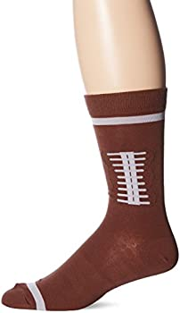 K Bell Men s Playing Around Sport Novelty Crew Socks Football  Brown  Shoe Size  6-12