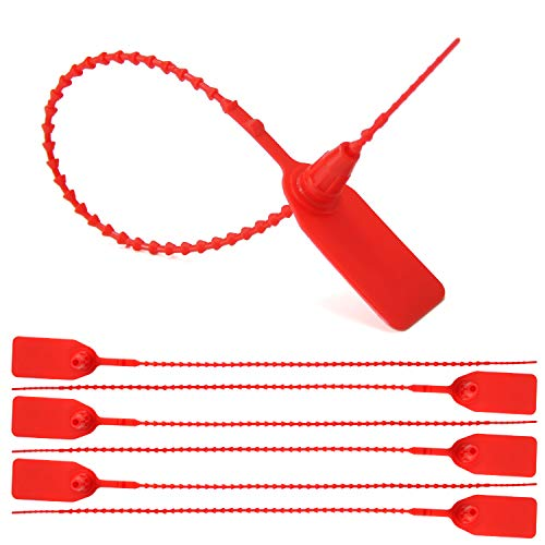 Leadseals(R) 100 Plastic Tamper Seals, Zip Ties for Fire Extinguishers Pull Tite Security Tags Numbered Disposable Self-Locking Tie 250mm Length (Red)