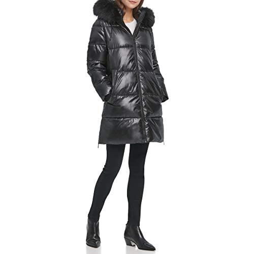 DKNY Damen Poly Puffer Alternativer Daunenmantel, schwarz, Groß