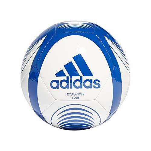 Adidas, Starlancer Clb , Pallone Da Calcio, Bianco / Squadra Blu Reale, 5, Unisex Adulto