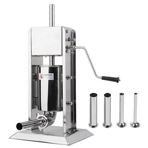 COMOTS Profi Wurstfüllmaschine Aus Edelstahl (5 Liter) + Vier verschiedene Füllrohre, Wurstfüller, Wurstpresse, Wurstmaschine mit, Entlüftungsventil und Handkurbel (5L)