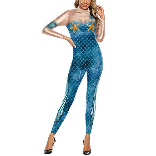 wetry Disfraces Mono Disfraz Sirena Mujer Traje Sirena Adulto Ropa de Sirena Carnaval Halloween