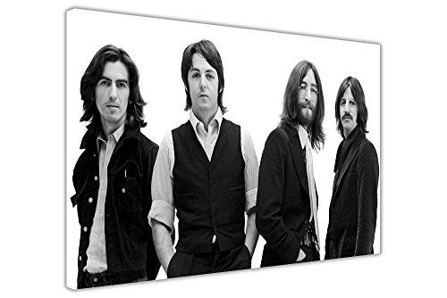 Kunstdruck auf Leinwand, Schwarz-Weiß, Motiv: Beatles (Musik-Legenden), 1969Fotoshooting, Kunstdruck, Raum-Dekoration , canvas holz, schwarz, 09- A0 - 40