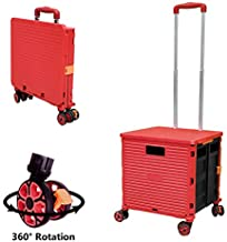 Foldable Utility Cart Folding Portable Rolling Crate Handcart with Durable Heavy Duty Plastic Telescoping Handle Collapsible 4 Rotate Wheels for Travel Shopping Moving Luggage Office Use (Red)