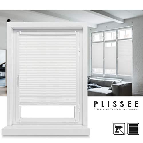 Grandekor Plissee Rollo Klemmfix ohne Bohren Weiß 35x100 (BxH) Jalousie Faltrollo Plisseerollo Sonnenschutz und Sichtschutz für Fenster und Tür