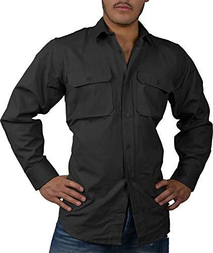 normani Tropenhemd Deserthemd Diensthemd Safarihemd Langarm Farbe Schwarz Größe S