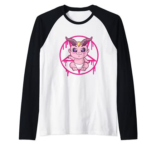 Regalo gótico pastel lindo bebé gótico Camiseta Manga Raglan