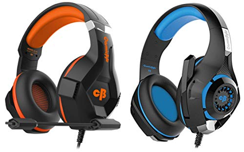 Cosmic Byte H11 Gaming Headset with Microphone (Black/Orange) + Cosmic Byte GS410 Headphones with Mic and for PS4, Xbox One, Laptop, PC, iPhone and Android Phones (