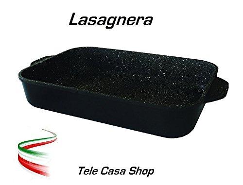 Tele Casa Shop Lasagnera in Alluminio con Rivestimento Antiaderente in Pietra Lavica Ceramicata Made in Italy - Omaggio Sottopentola in Legno