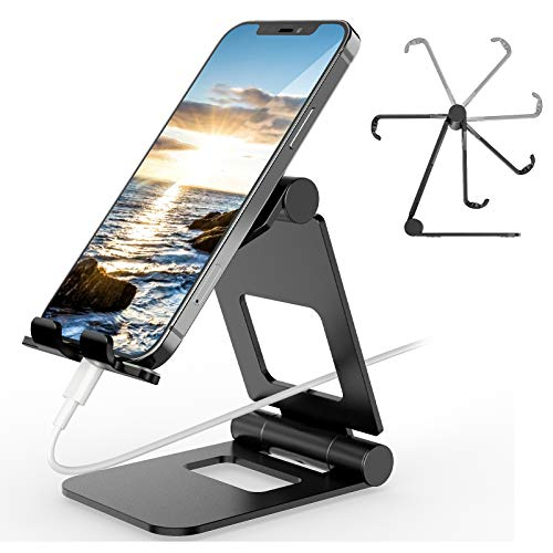 Tablet Stand, ZHENREN Foldable Adjustable Tablet Holder Phone Stand Compatible with New iPad 2020 Pro 9.7/10.5/12.9, Air mini 2 3 4, Nintendo Switch, Samsung Tab, Other Tablets (4'-13' inch) - Black