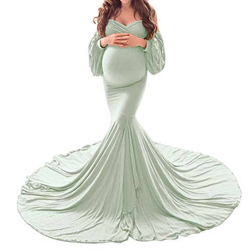 FYMNSI - Vestido de mujer para embarazadas, con hombros descubiertos, de manga larga, para mujer, vestido de boda, para el suelo, para sesiones de fotos verde L