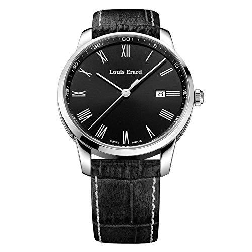Louis Erard Heritage Collection 17921AA22.BEP100 - Reloj para hombre (acero inoxidable, correa de piel negra