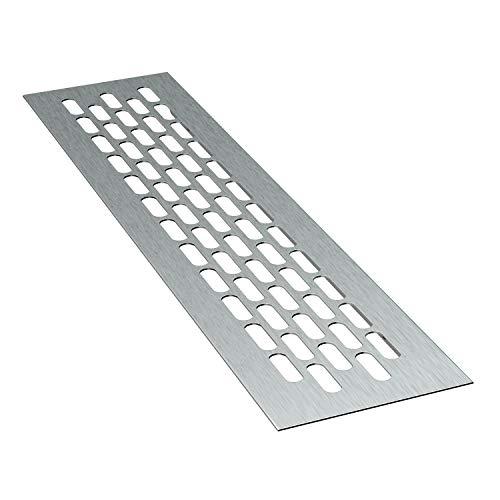 sossai® Aluminium Lüftungsgitter - Alucratis (1 Stück) | Rechteckig - Maße: 24,5 x 6 cm | Farbe: Inox | gebürstet