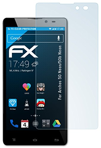 atFolix Schutzfolie kompatibel mit Archos 50 Neon/50b Neon Folie, ultraklare FX Bildschirmschutzfolie (3X)