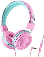 Słuchawki dziecięce, słuchawki kablowe dla dziewcząt, regulowana opaska na czoło, dźwięk stereo, składane, rozplątane przewody, 3,5 mm Aux Jack, Limited, słuchawki dziecięce na uchu