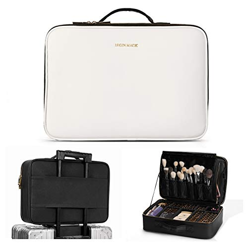 "BEGIN MAGIC 16"" Makeup Case Travel Makeup Train Case Makeup Bag Organizer Cosmetic Organizer Case Makeup Box with Adjustable Dividers for Cosmetics Makeup Brushes Toiletry(Without Shoulder Strap)"