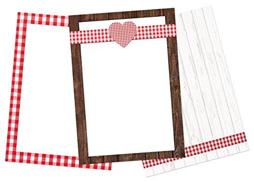 Logbuch-Verlag 75 Blatt Briefpapier Kopierpapier Design Papier DIN A4 rot weiß kariert SET 100g Motiv Papier Bastelpapier Bayern Herz