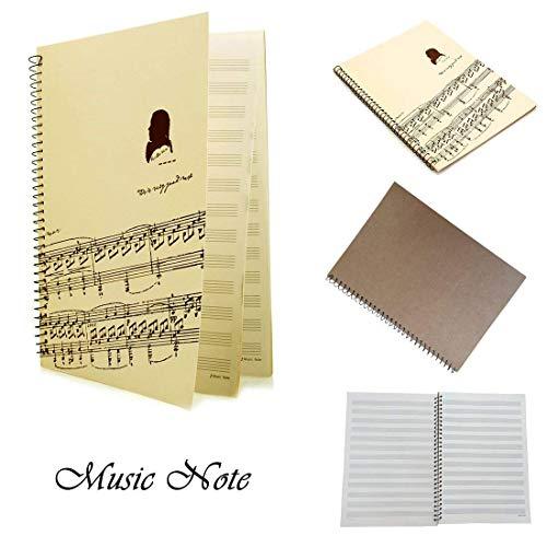 Blanko Noten Zusammensetzung Manuscript Staff Papier Kunst piano-keyboard-music-notebook schwarz 50Seiten 26x 19cm Ivory Music