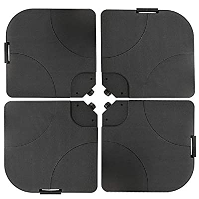 4-Piece Cantilever Offset Patio Umbrella Stand Square Base Plate Set, Fills Up to 200lbs w/Carry Handles - Black