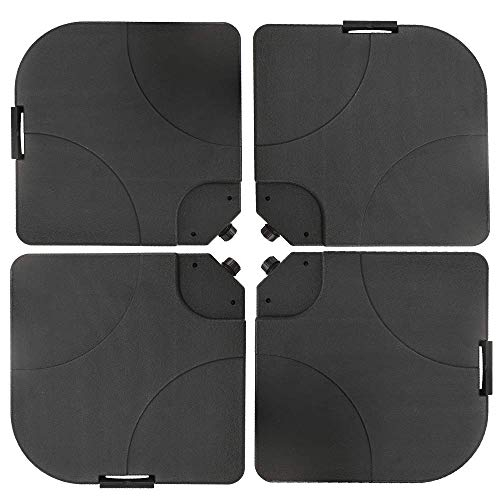 4-Piece Cantilever Offset Patio Umbrella Stand Square Base Plate Set, Fills Up to 200lbs w/Carry...