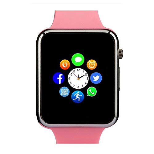 Smart Watch Phone Smartwatch with Camera Pedometer Call Text SNS Sync SIM Card Slot TF Card Music Player Alarm Compatible with Android and IPhone (Partial Functions) for Women Girls Kids Teens (Pink)