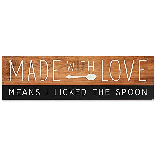 Open Road Brands Made with Love Means I Licked The Spoon Kitchen Wood Wall Décor - Funny Farmhouse Kitchen Wall Art