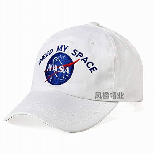 CWH-hat NASA Bestickte Baseballmütze Astronaut Cap Duck Tongue Lässige Hip Hop-Kappe, Weiß, einstellbar