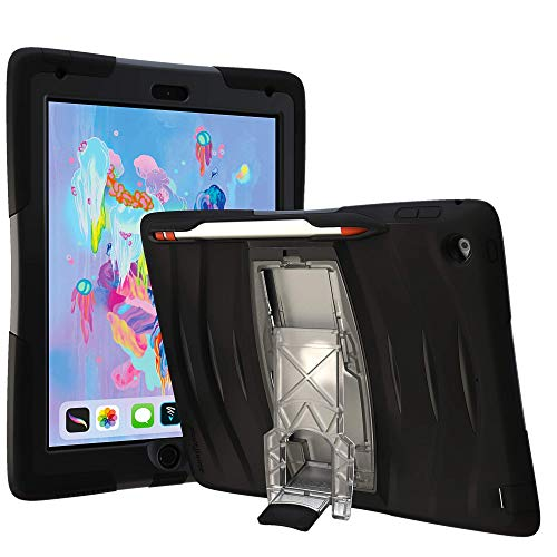 UZBL iPad 10.2 (7th Gen) Case, Shockwave v1 Heavy Duty Rugged Case with Screen Protector and Removable Kickstand for iPad 10.2 Gen 7 (Black)