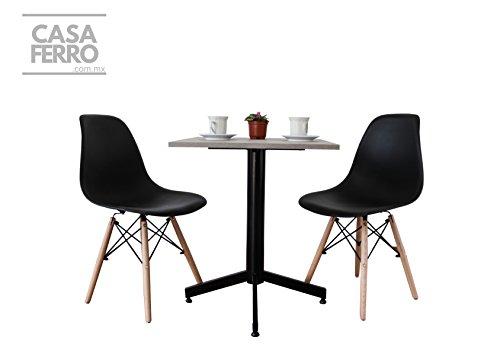CASA FERRO Mesa para Restaurant para 2 Personas con 2 sillas Negras ENVÍO Gratis -Acero y Color Nogal