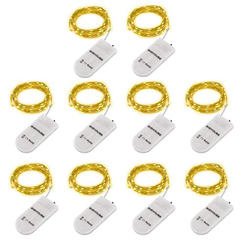 LED Lichterkette Batterie, 10 Stück 2M 20 Micro LEDs Lichterkette mit CR2032 Batterie Betrieb IP65 Wasserdicht String Fairy Light für Party, Garden, Christmas Dekor, Flasche DIY (Warmweiß)