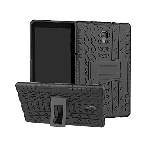 ZHIWEI Tablet PC Bag Coperchio Tablet per Samsung Galaxy Tab A 10,5 T590   T595 Texture di Pneumatici TPU Antiurto TPU + Custodia Protettiva per PC con Supporto per Manico Pieghevole (Color : Black)