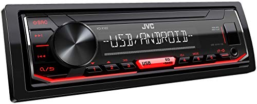 JVC KD-X162 USB-Autoradio mit RDS (Hochleistungstuner, MP3, WMA, FLAC, AUX-Eingang, Android Music Control, Bass Boost, 4x50 Watt, Rot) Schwarz