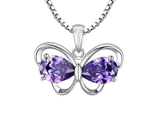 findout dames 925 zilver Amethyst vlinder Hanger ketting, voor dames meisjes (f1608)