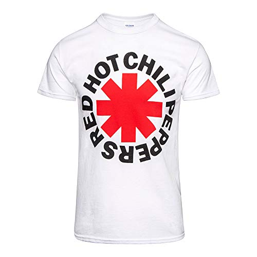 Red Hot Chili Peppers Classic Asterisk - Camiseta de Manga Corta, Color Blanco - Blanco - Large