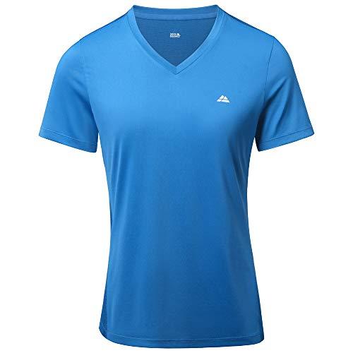 Women Workout T-Shirt, Breathable Fitness Top (Blau, XL)